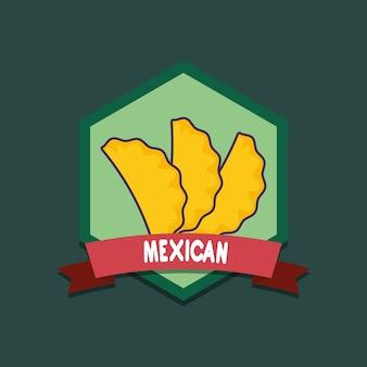 Emblema di cibo messicano con empanadas su sfondo verde, design colorato. illustrazione vettoriale