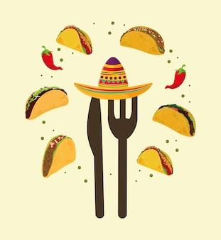 Cibo messicano e cappello