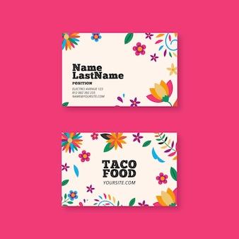 Biglietto da visita orizzontale cibo messicano