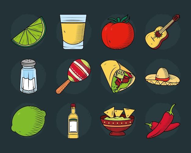 Raccolta di icone e cibo messicano