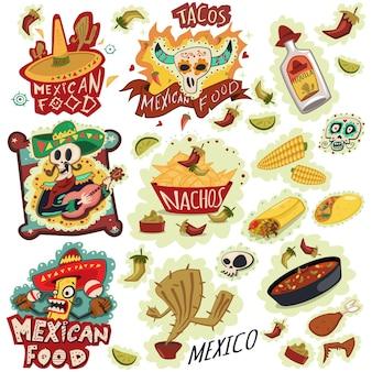 Insieme di vettore delle icone del cibo messicano. nachos, sombrero bottiglia di tequila, burritos, peperoncino, mais, cactus, teschio, sombrero e altri. illustrazione del fumetto di tiraggio della mano.