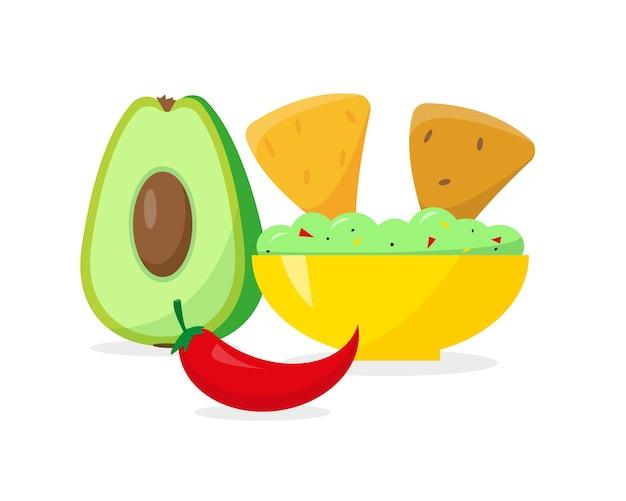 Cibo messicano. piastra con patatine guacamole e nachos, pepe e avocado su sfondo bianco.