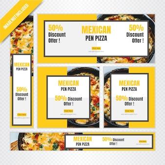 Set di banner web cibo messicano per ristorante