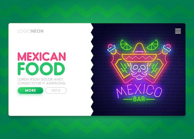 Sito web di cibo messicano. pagina di destinazione