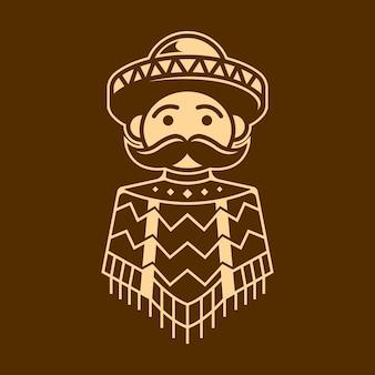 Ragazzo messicano con design poncho