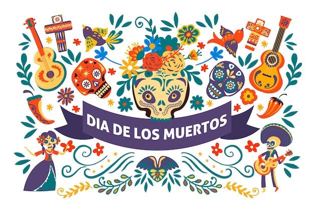 Festa messicana dia de los muertos, banner con simboli di eventi culturali. celebrazione del giorno dei morti, teschi e chitarre acustiche, croci e fiori decorativi vividi, vettore in stile piatto