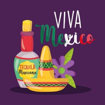 Il giorno dell'indipendenza messicana, il cappello e il fiore della bevanda della bottiglia di tequila, viva mexico si celebra l'illustrazione di settembre