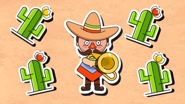 Musicista messicano illustrazione vettoriale con uomini vestiti nativi e sombrero piatto vector illustration