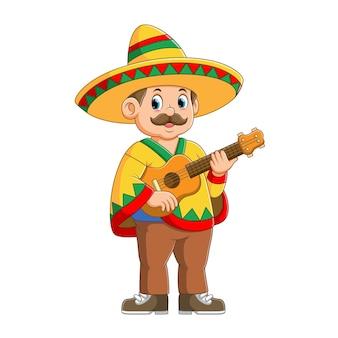 Musicista messicano con cappello sombrero che tiene l'illustrazione della chitarra