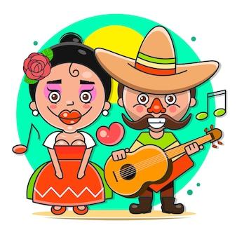 Illustrazione vettoriale di musicisti messicani in abiti nativi e illustrazione vettoriale piatta di sombreros