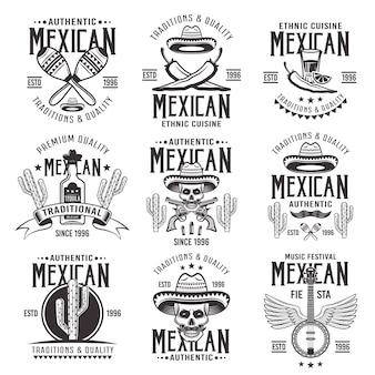 Attributi nazionali messicani, set di segni autentici, emblemi, etichette, distintivi e loghi in bianco e nero vintage su sfondo bianco
