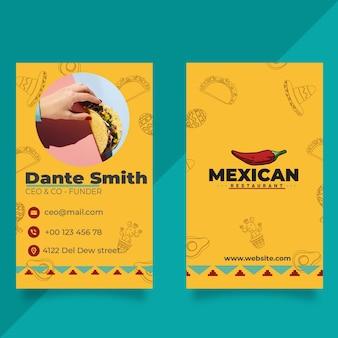 Biglietto da visita fronte-retro del ristorante messicano