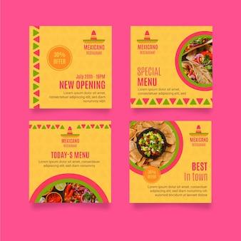 Collezione di post di instagram ristorante messicano