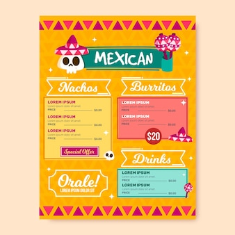 Modello di menu del ristorante messicano