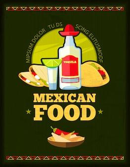 Progettazione del menu di vettore del ristorante messicano