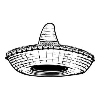 Sombrero messicano nello stile del tatuaggio isolato su priorità bassa bianca. elemento di design per poster, t merda, carta, emblema, segno, distintivo.