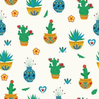 Fondo bianco del cactus del modello senza cuciture di stile messicano arte popolare disegno a mano