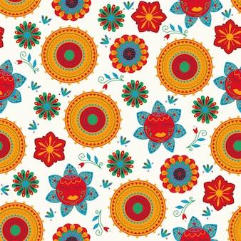 Stile messicano seamless pattern sombrero fiori sfondo bianco arte popolare disegno a mano