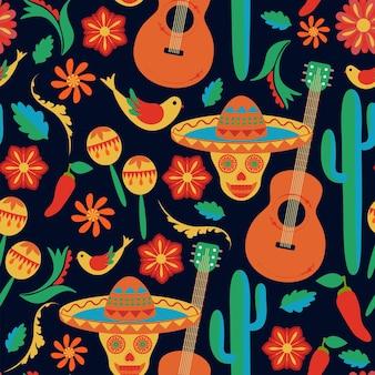 Modello senza cuciture in stile messicano sombrero dipinto teschi su sfondo nero arte popolare disegno a mano