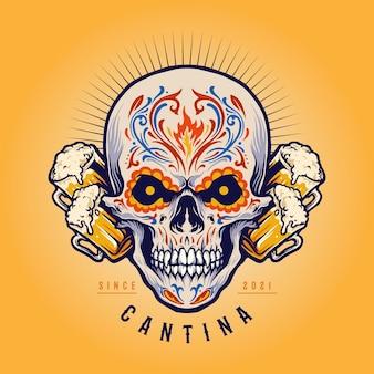 Illustrazioni messicane della mascotte della birra della cantina del cranio dello zucchero