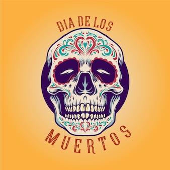 Teschio messicano dello zucchero dia de los muertos illustrazioni