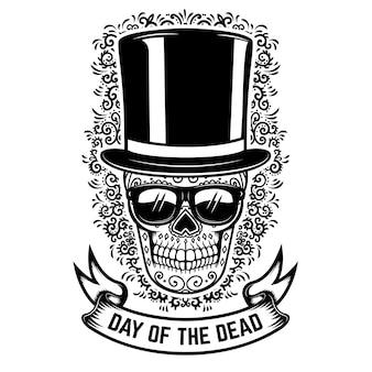 Teschio di zucchero messicano in cappello vintage e occhiali da sole con sfondo motivo floreale. giorno della morte.