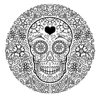 Teschi di zucchero messicani con sfondo motivo floreale. giorno della morte.