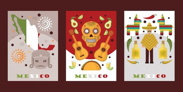 Simboli messicani per le carte souvenir banner con icone turistiche del messico