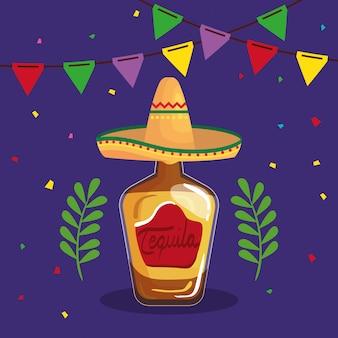 Bottiglia di tequila messicana con cappello