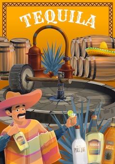 Produzione di bevande alla tequila messicana. uomo di vettore del fumetto in sombrero e poncho, bevendo tequila con lime, pianta di agave blu, mulino tahona e alambicco, botti, mezcal, tequila e bottiglie di pulgue
