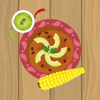 Cibo tradizionale messicano con avocado e pannocchia