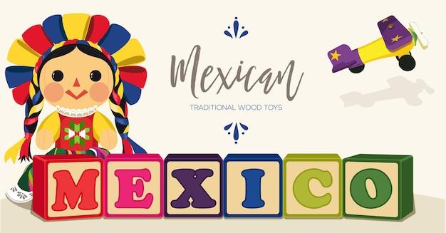 Bambola maria messicana tradizionale - copia spazio banner