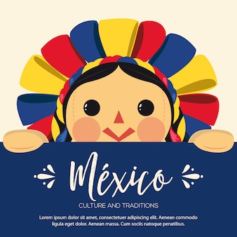 Illustrazione tradizionale messicana della bambola di maria