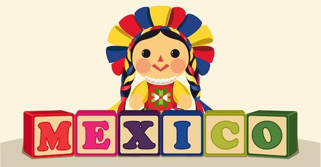 Bambola maria messicana tradizionale con blocchi di legno