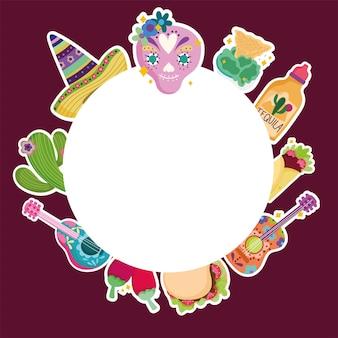 Messico cultura cranio cappello tequila cibo chitarra cactus banner modello illustrazione