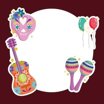 Messico cultura musica tradizionale chitarra festosa maraca cranio palloncini illustrazione distintivo