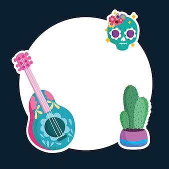Illustrazione della disposizione dell'etichetta del cactus e della chitarra tradizionale del cranio della cultura del messico