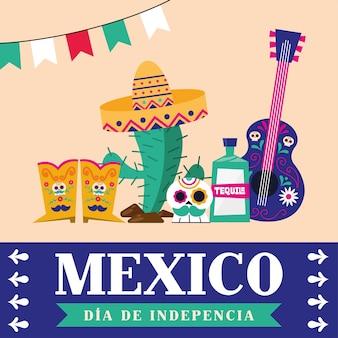 Messico dia de la indipendenza con stivali tequila teschio cactus e design chitarra, tema culturale illustrazione vettoriale