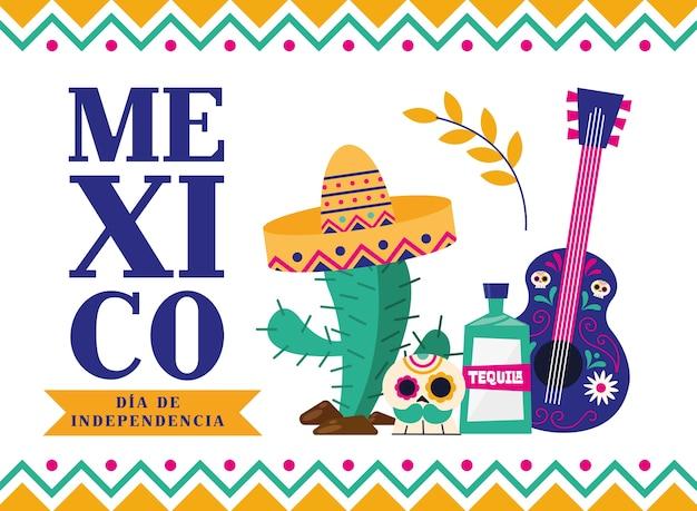 Messico dia de la independencia con tequila teschio di cactus e design di chitarra, illustrazione di vettore di tema di cultura