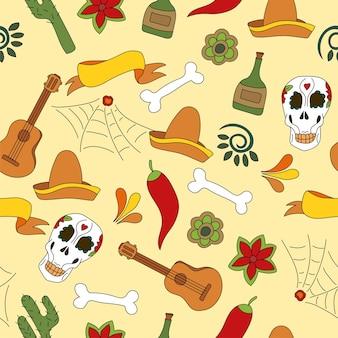 Illustrazione di vettore del reticolo senza giunte delle icone del messico. elementi tradizionali messicani sfondo carnevale o festival