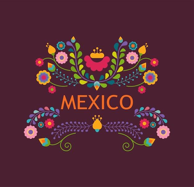 Illustrazione del messico con fiori e decorazioni messicane