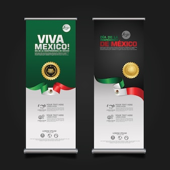 Celebrazione del giorno dell'indipendenza del messico, roll up banner set template.