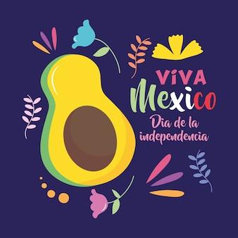 Design del giorno dell'indipendenza del messico con avocado