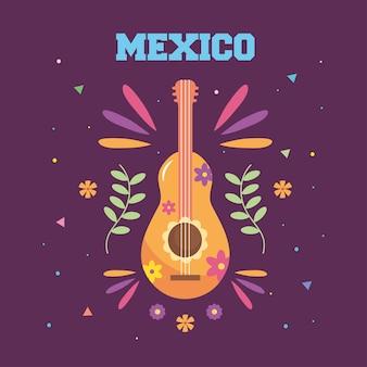 Disegno di giorno dell'indipendenza del messico con chitarra messicana