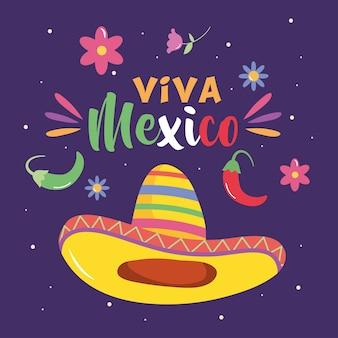 Design del giorno dell'indipendenza del messico con cappello messicano