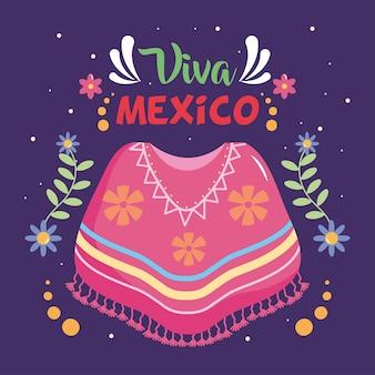 Design per il giorno dell'indipendenza del messico con poncho messicano