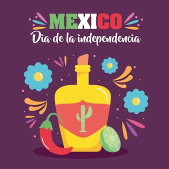 Design del giorno dell'indipendenza del messico con bottiglia di tequila