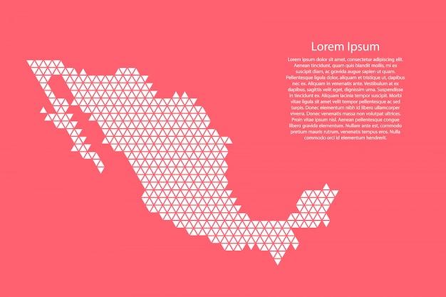 Messico mappa schematica astratta da triangoli bianchi ripetendo geometrica sul colore rosa corallo con nodi per banner, poster, cartolina d'auguri. .