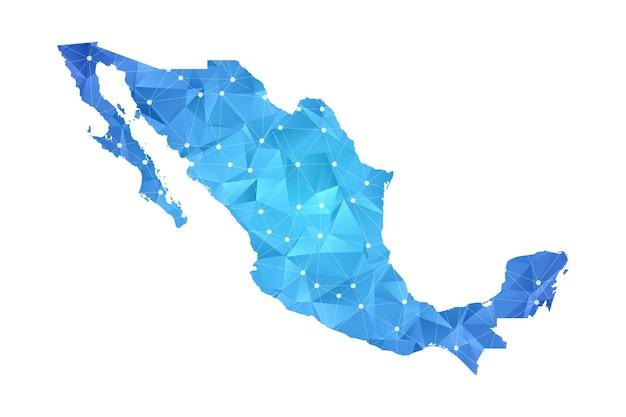 Messico mappa linea punti geometrici astratti poligonali.