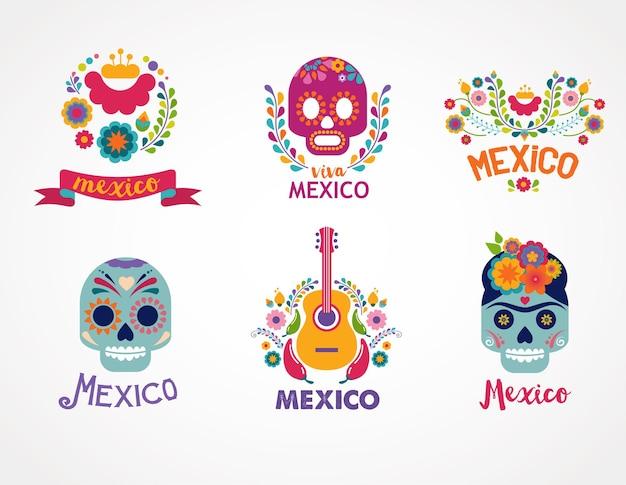 Teschio musicale messicano ed elementi alimentari